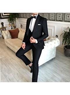 Terzi Adem 3537 İtalyan Kesim Ceket Yelek Pantolon Damatlık Set Siyah T4913